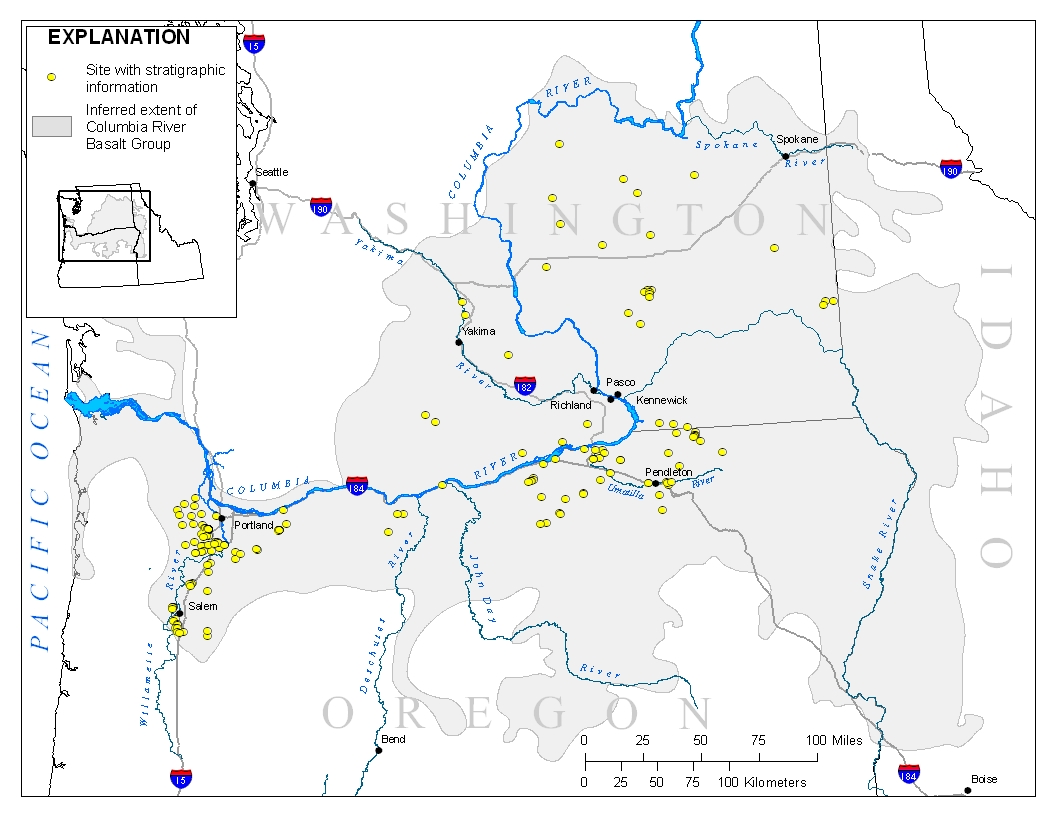 Columbia River Basalt Stratigraphy In The Pacific Northwest - Willamette river on map of us